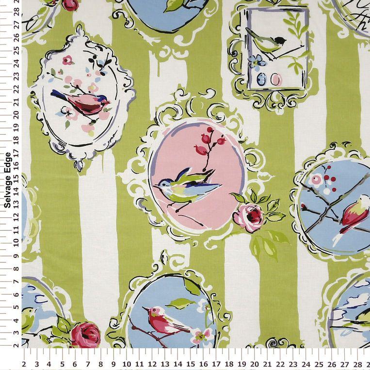 Aviary Kiwi Pink And Green Home Decor Fabric Mediumweight Multi