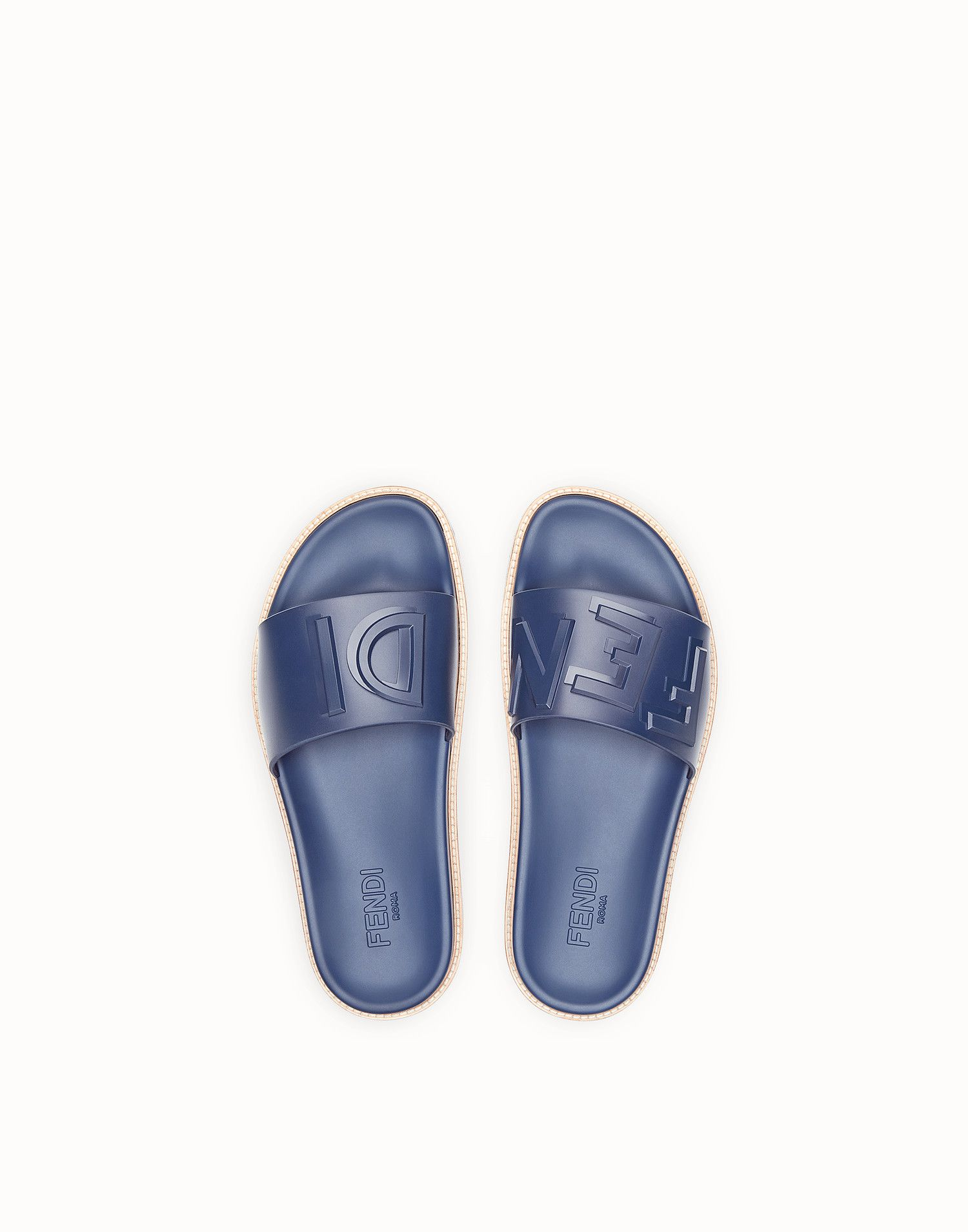 8579b61fb6d5 FENDI SLIDES - Blue rubber slides - view 4 zoom