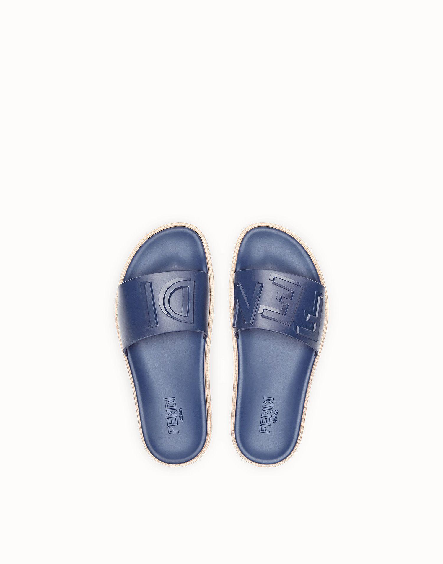 2d912b87d230 FENDI SLIDES - Blue rubber slides - view 4 zoom