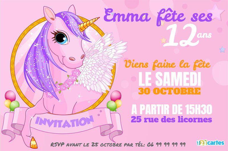 invitation anniversaire pink licorne