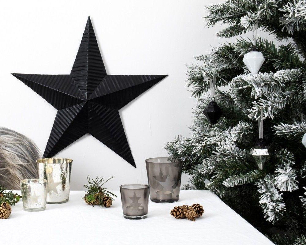 Christmas Decoration Glass Star Tealight Holder, Large, Black in ...