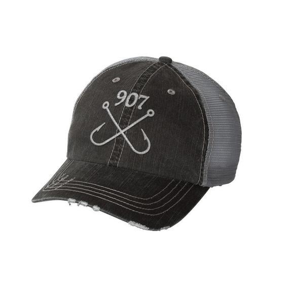 Fishing Hooks Frayed Hat Etsy In 2021 Hats Fish Hook Herringbone Fabric