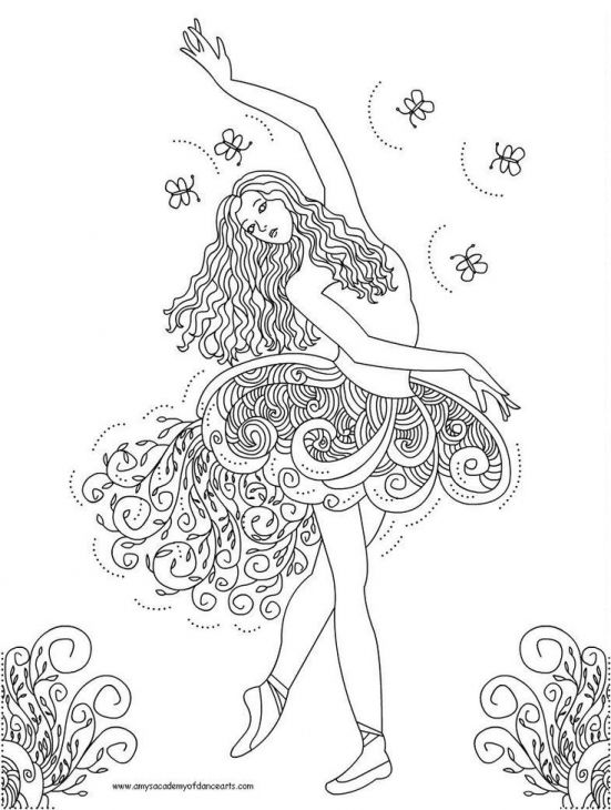 Doodle Art Of Ballerina Dancer Coloring Page For Adults