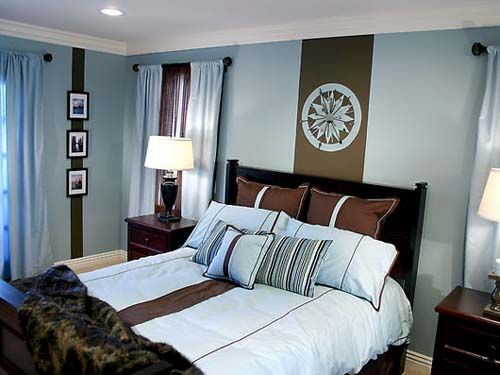 blue brown bedroom brown stripe with pictures