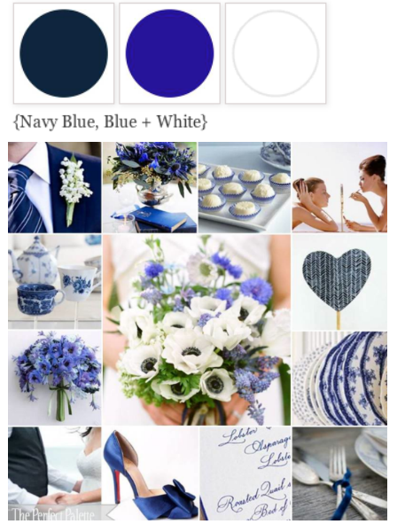 navy blue, blue, and white color scheme