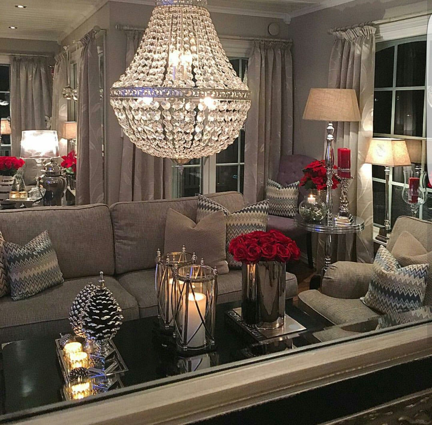 Neutral Living Room Decorating Ideas What Lovely Room I Love The Red Accents With The