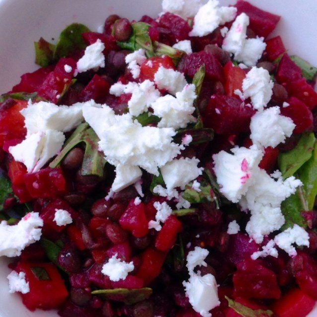 Roasted Beetroot and Carrot Salad With Puy Lentils, Rocket and Feta (286 calories)