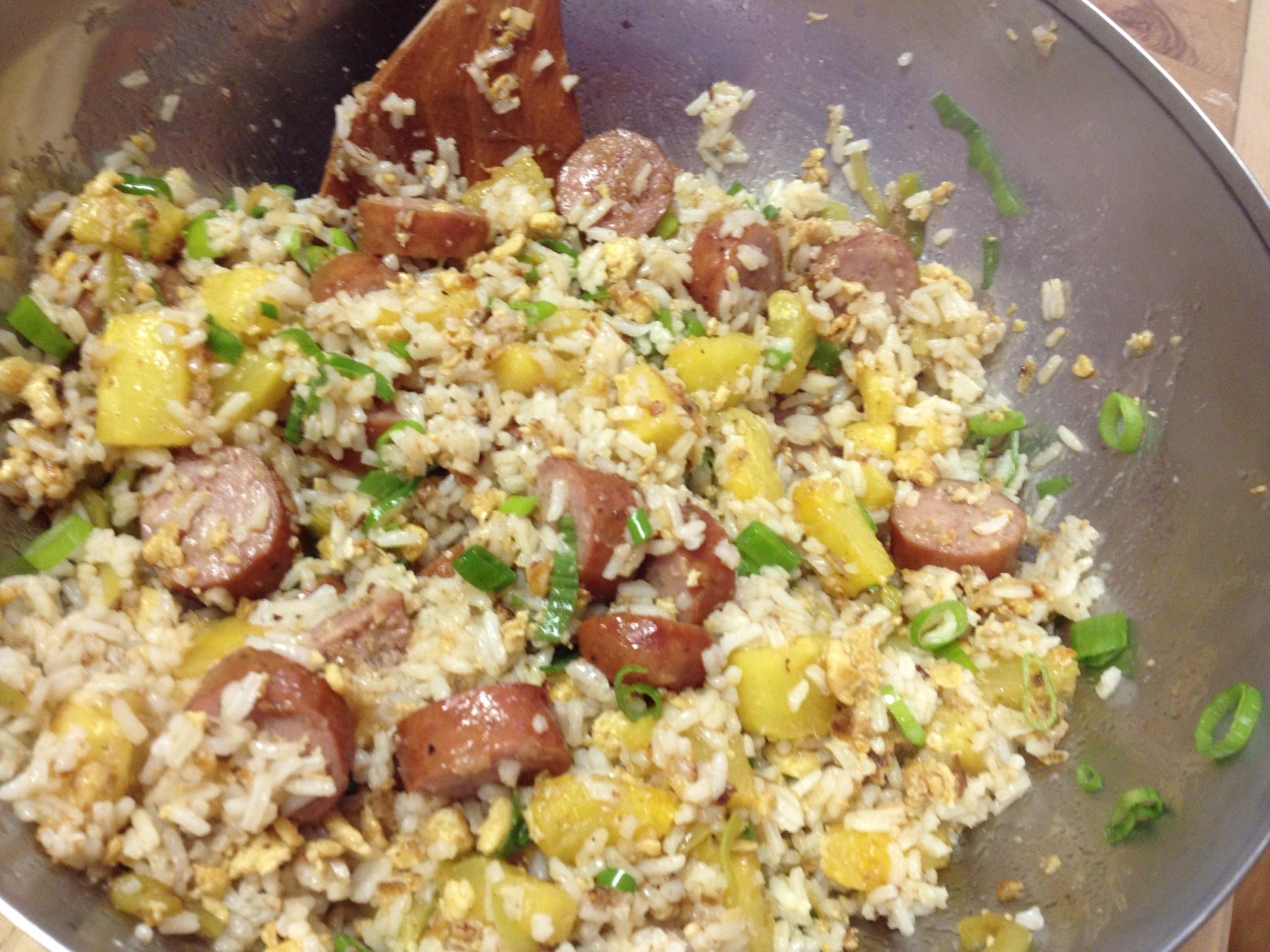 Glutenfree pineapple sausage stirfry sausage stir fry
