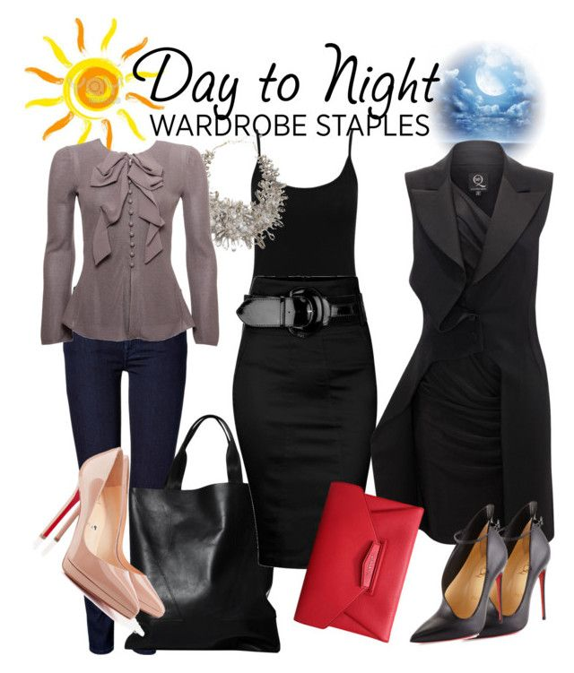 """Day To Night"" by fashion-press-pass-abw ❤ liked on Polyvore featuring M&Co, 7 For All Mankind, London Edit, TWIST'N'SCOUT, Armani Collezioni, Dorothy Perkins, Christian Louboutin, McQ by Alexander McQueen, Givenchy and women's clothing"