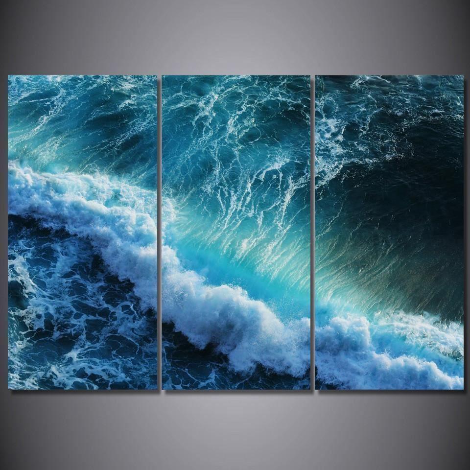 Huge Blue Wave 3 Panel Canvas Wall Art On Ocean Picture Framed Unframed Home Amp Garden Ho Photo Paysage Magnifique Tutoriels De Peinture Aquarelle Facile