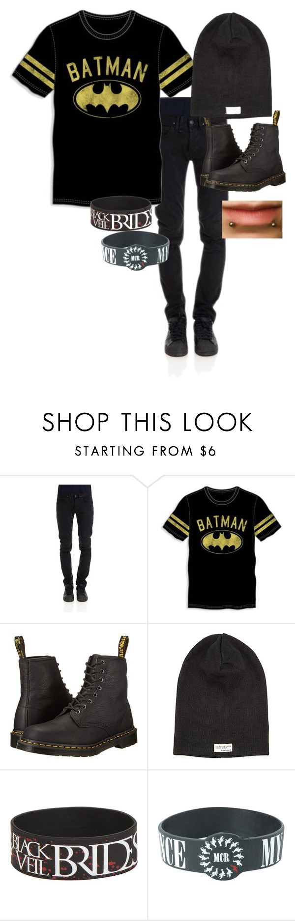 """what I'm wearing:)"" by xlucasx ❤ liked on Polyvore featuring CYCLE, Bioworld, Dr. Martens, Nudie Jeans Co., men's fashion and menswear"