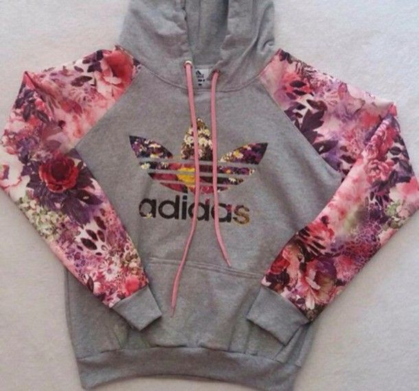 4913838d2d46 sweater adidas hoodie floral grey
