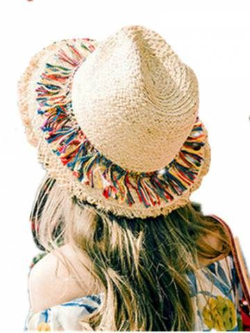 Popular fringe straw hat for women raw edge sun hats beige