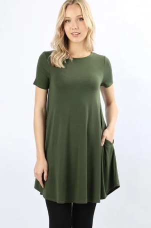 85b036cb Women's Green Top Short Sleeve Dress New Cute Fashion Tunics – MomMe and  More