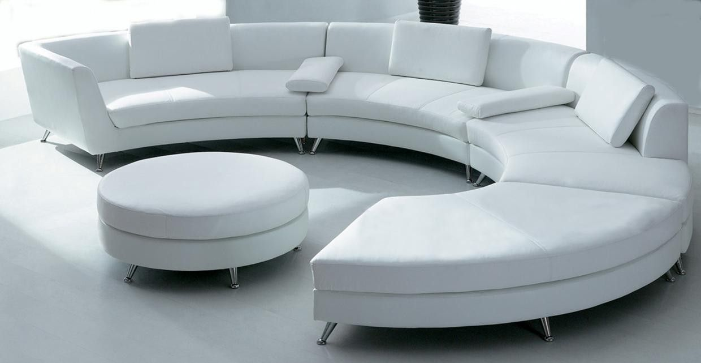Awesome White Circular Leather Sofa W Ottoman Sf03 Qty 4 Customarchery Wood Chair Design Ideas Customarcherynet