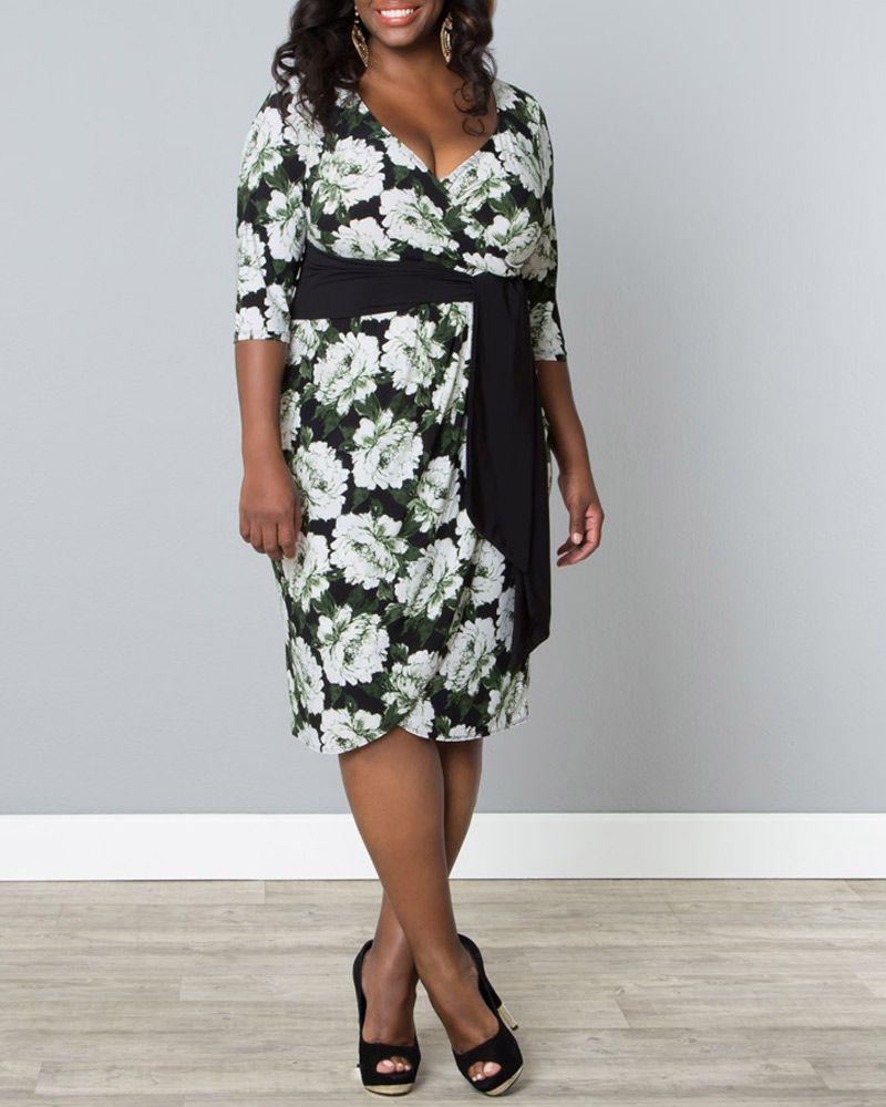 Kiyonna Womens Plus Size Harlow Faux Wrap Dress Sale Plus Size Dresses Classic Cocktail Dress Faux Wrap Dress [ 1000 x 800 Pixel ]