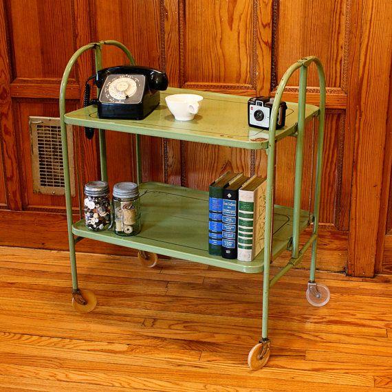 Vintage Cart Serving Cart Metal Cart Patio Cart Bar Cart Tea Cart Wheels 2 Shelf Folding Versa Tab Vintage Coffee Shops Vintage Cart Tea Cart