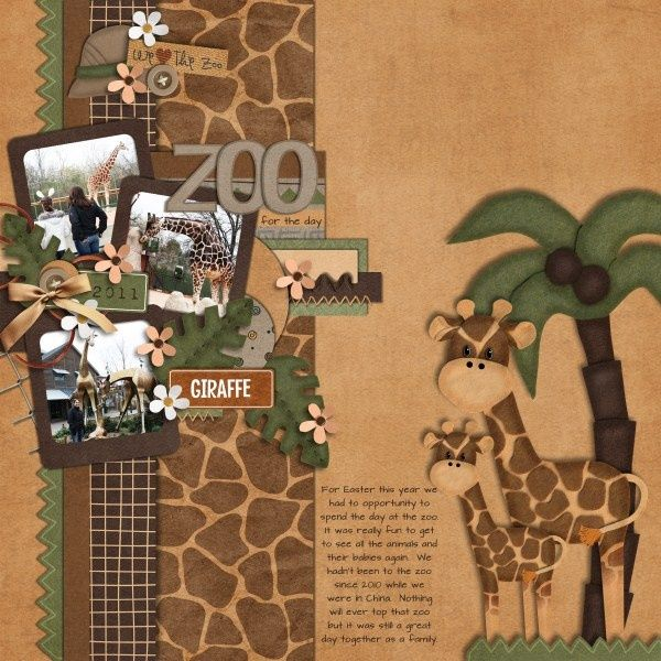 Zoo Scrapbook Layout Ideas | Scrapbook Layout #giraffe