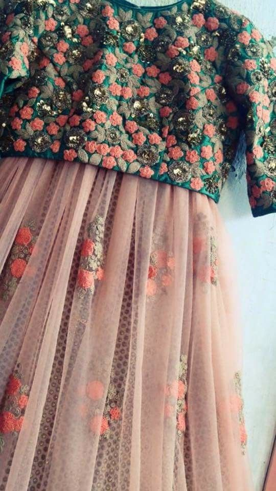 8d6fd5d269 Sheer lehenga with brocade lining and floral choli   Traditional ...