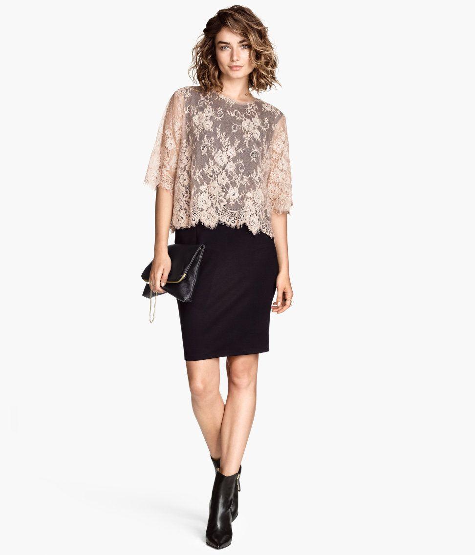 Kleid mit Spitzen-Oberteil | H&M