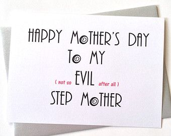 Happy Mothers Day Card For Step Mom Funny Mother Not So Evil Stepmother