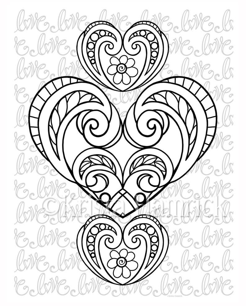 Love Hearts 2 coloring pages for Valentine's Day Etsy in