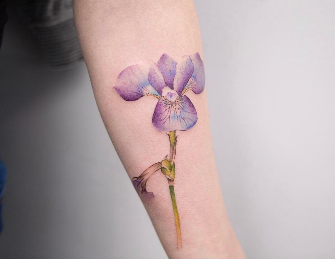 Purple Iris Flower Tattoo By Georgiagreynyc Iris Tattoo Iris Flower Tattoo Flower Tattoo