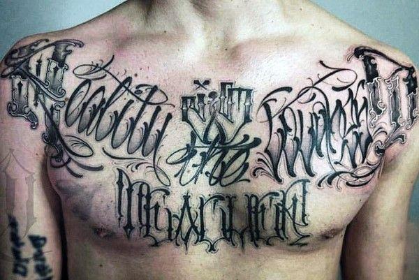 90 Script Tattoos For Men Cursive Ink Design Ideas Tattoo Script Chest Tattoo Lettering Chest Tattoo