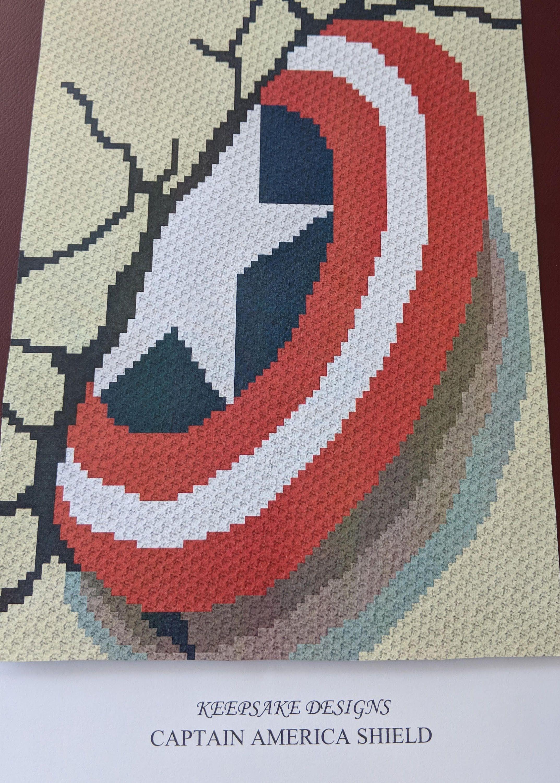 Captain America Shield – Adult/Teen Size Corner to Corner Crochet