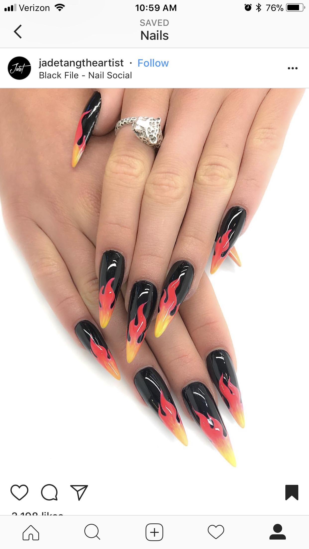 Flame Nails Cute Nails Fire Nails Nail Designs