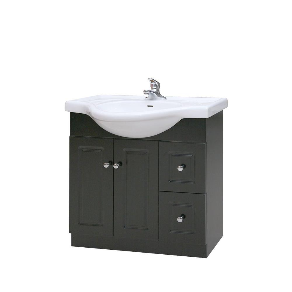 Dreamwerks 40 In W Bath Vanity In Black Oak Wood With Ceramic Vanity Top In White With White Basin And Mirror V 12041 The Home Depot Contemporary Vanity Marble Vanity Tops Vanity Top