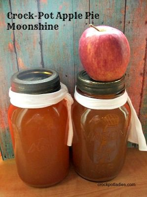 Crock-Pot Apple Pie Moonshine - Apple cider and cinnamon sticks are simmered in the slow cooker and then added to Everclear or Vodka in this recipe for Crock-Pot Apple Pie Moonshine. Delicious flavored adult beverage that is perfect for fall and winter sipping! | CrockPotLadies.com]