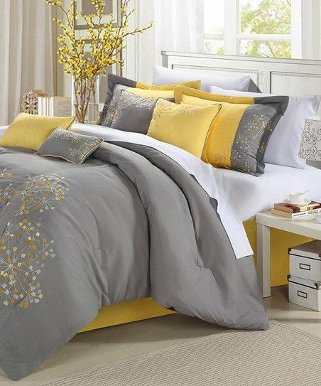 Yellow Floral Embroidered Comforter Set Ideas for my house