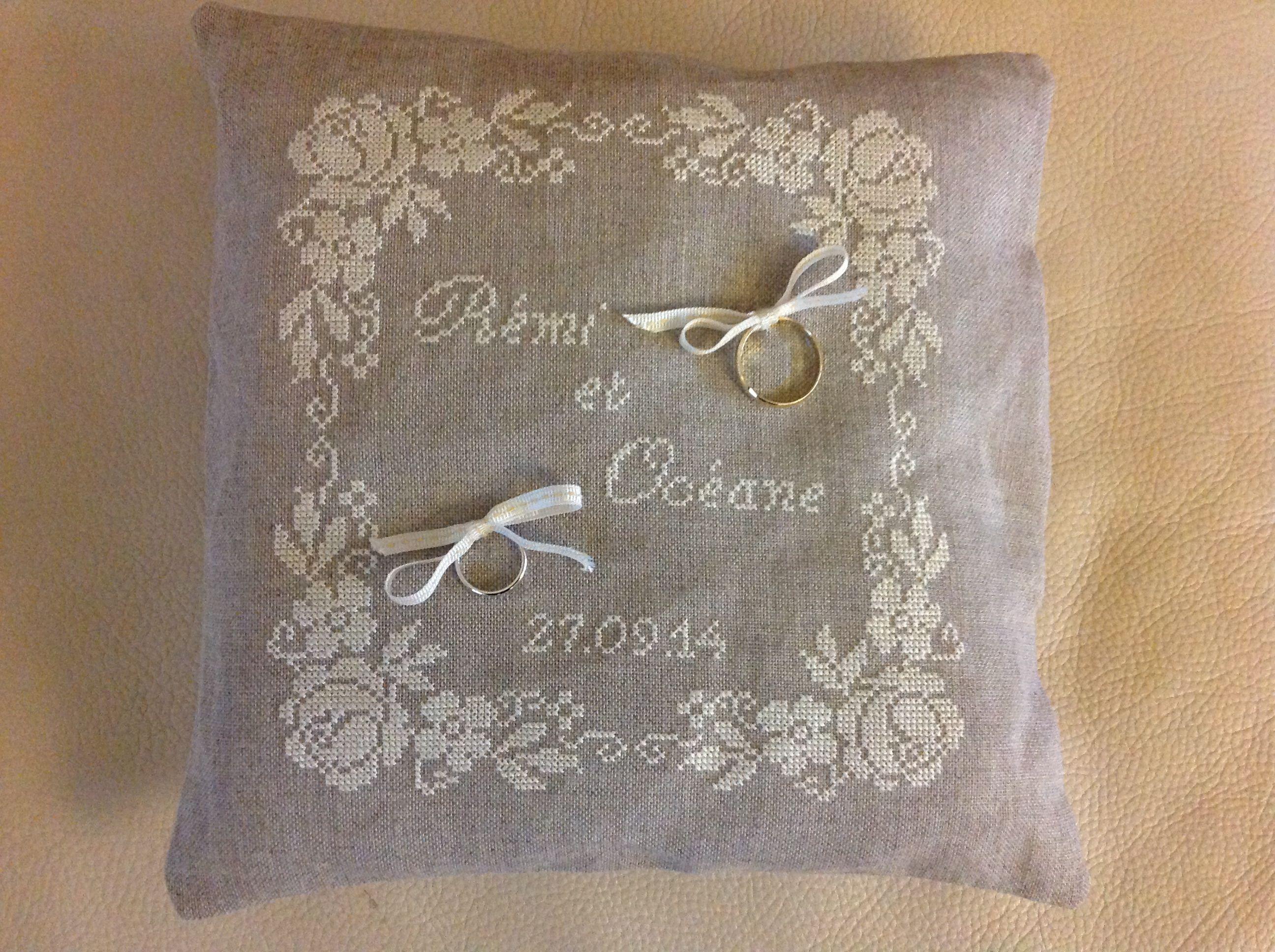 Coussin d'alliance mariage - Point de croix | Anelli di fidanzamento, Idee per matrimoni
