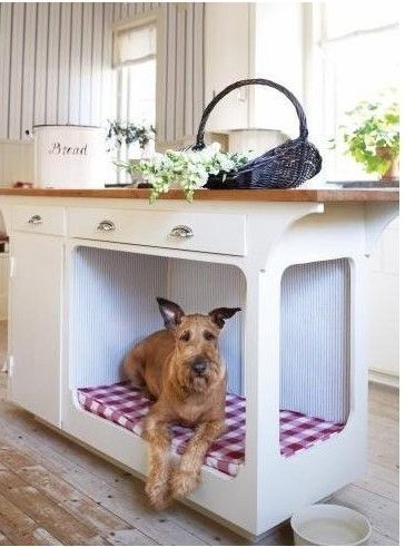Kitchen island with built-in dog bed