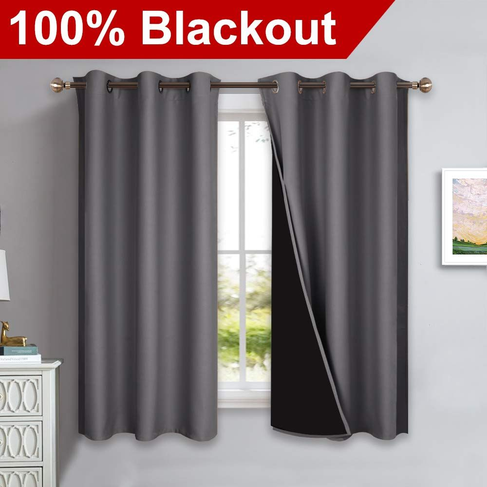 Nicetown 100 Blackout Curtains With Black Liners Thermal Insulated Full Blackout 2 Layer Lined Curtains Insulated Drapes Drapes And Blinds
