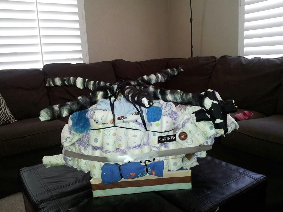 CH-53 Diaper cake-i made today for my fellow Super Stallion momma :)
