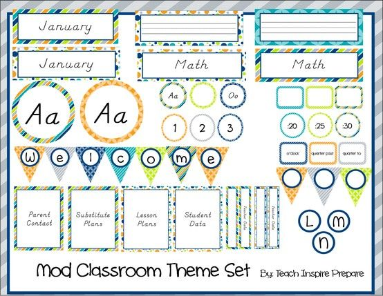 Neutral Classroom Decor ~ A mod classroom theme set gender neutral teachers pin