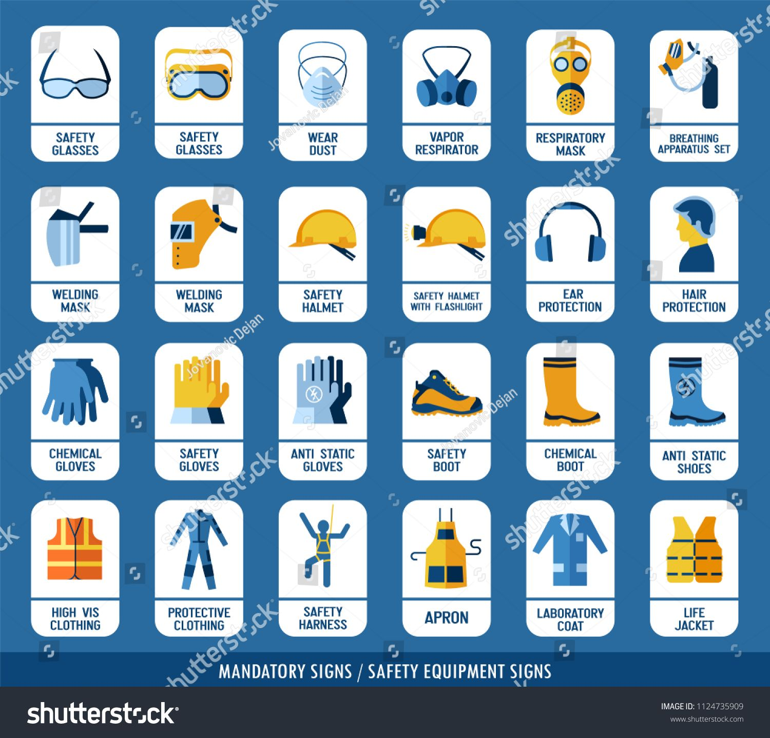 Collection of safety equipment. Set of safety and health
