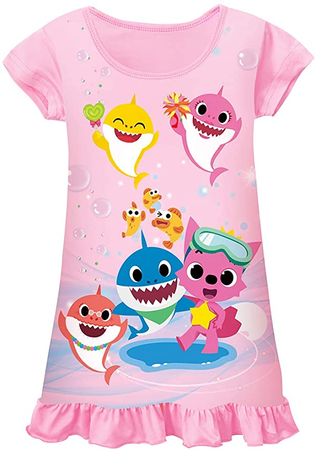 Toddler Nightgowns Girls Baby Pajamas Shark Short Sleeve Nightdress Nightie