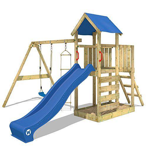 WICKEY Aire de jeux FastFlyer Maisonnette en bois jardin avec - Maisonnette En Bois Avec Bac A Sable