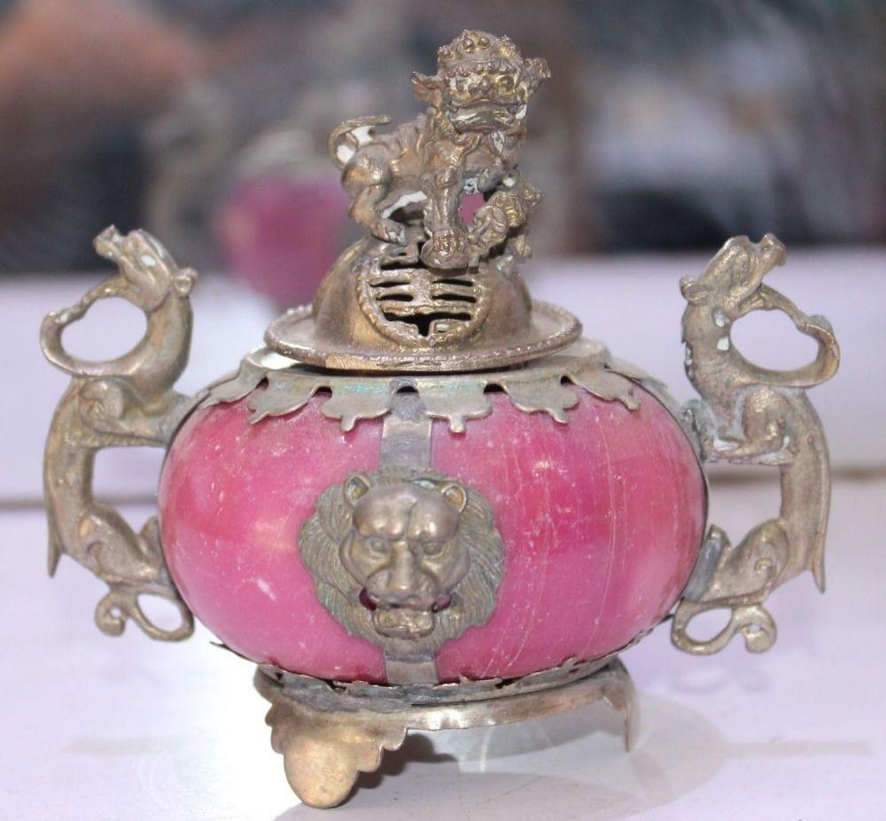 China Tibet Silver Dragon Lion Kylin Foo Fu Dog Red Jade Incense Burner Censer(China (Mainland))