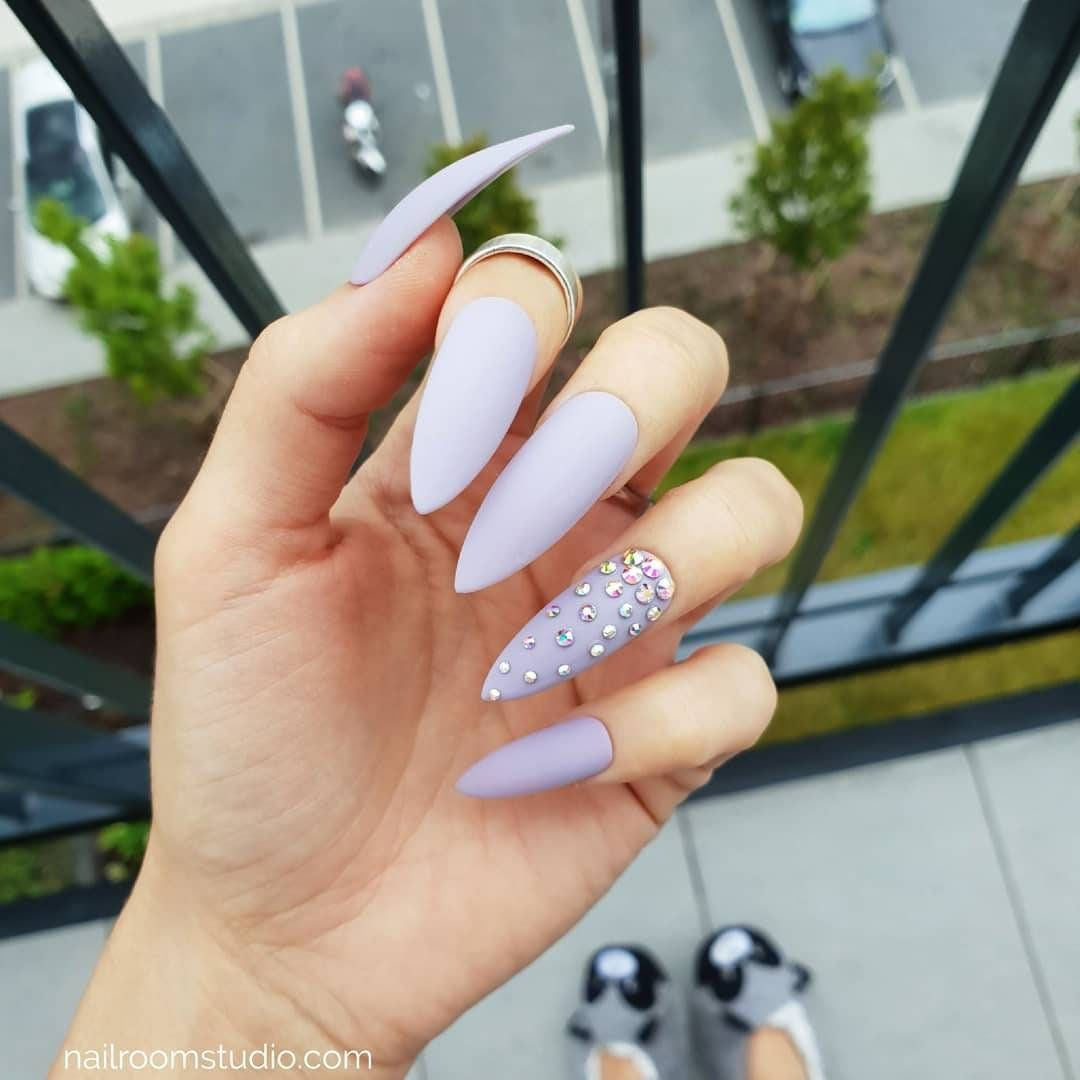 Items similar to LILAC 10 false nails with opal diamonds crystals | press on nails | mauve pop on nail tips | matte or glossy finish | custom pressons design on Etsy