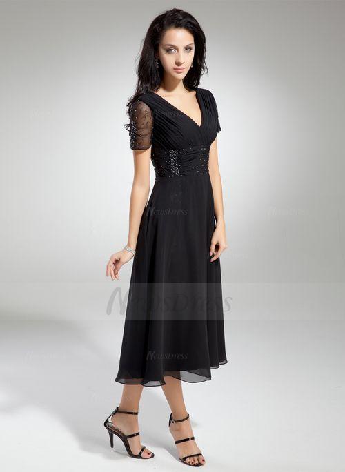 A-Line/Princess V-neck Tea-Length Chiffon Mother of the Bride Dress With Ruffle Beading (00805008570) - Vbridal