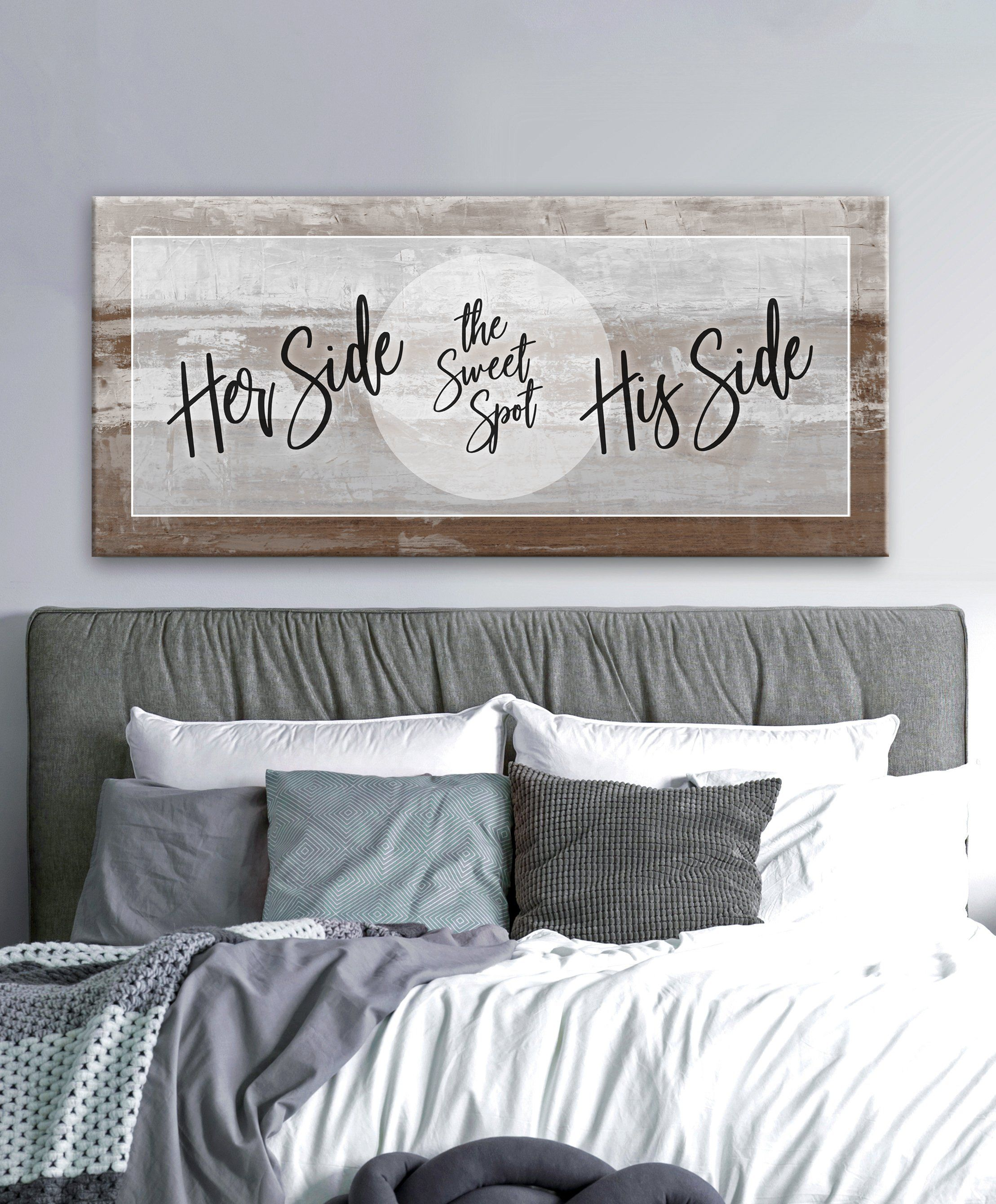 Couples Wall Art Her Side His Side Wood Frame Ready To Hang Bedroom Wall Decor Above Bed Headboard Decor Bedroom Decor For Couples
