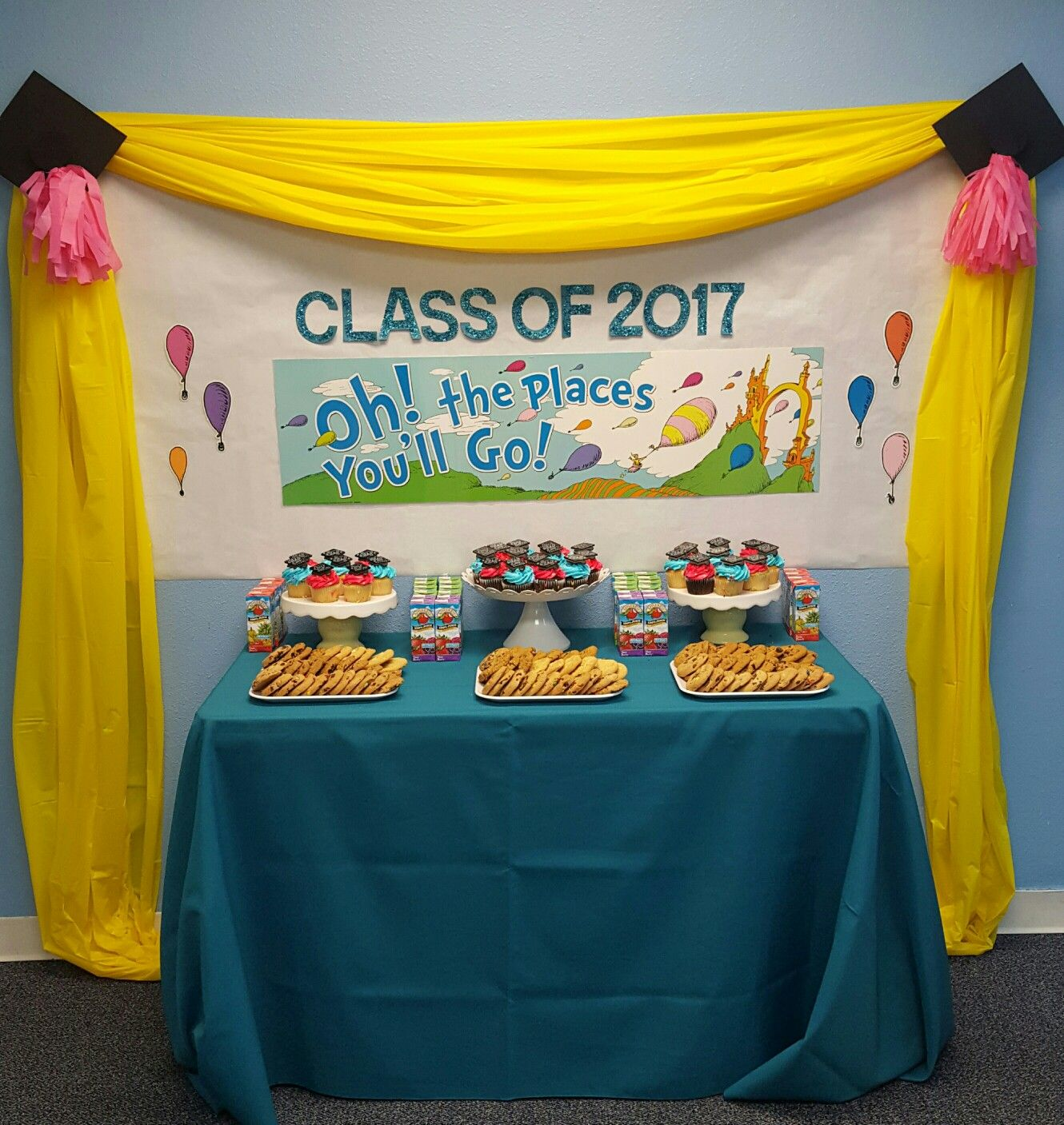 Oh The Places You Ll Go Preschool Graduation Refreshment Table Kindergarten Graduation Party Preschool Graduation Party Kindergarden Graduation
