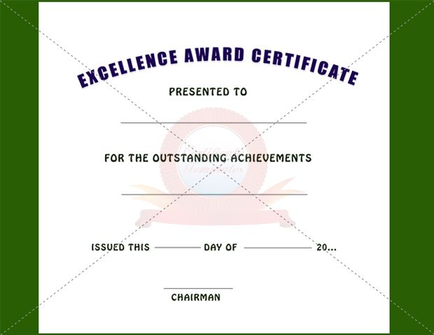 Excellence Award Certificate  Excellence Certificate