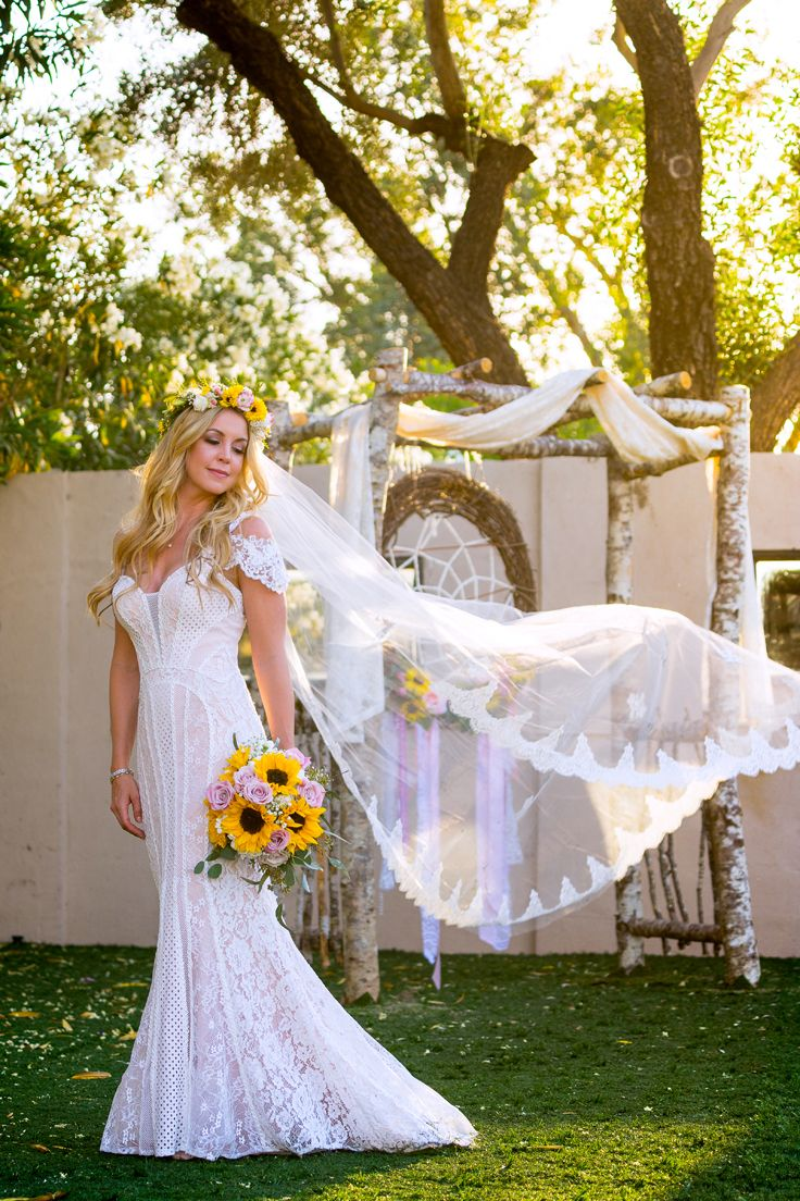 Boho Bride Lace Vintage Inspired Wedding Dress Flower Crown