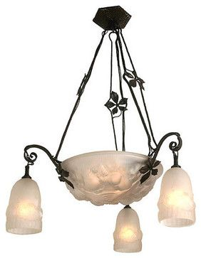 Striking Antique Circa 1925 6 Light Signed Frere Mueller French Art Deco Wrought Traditional Chandeliers Toronto Turn Of The Century
