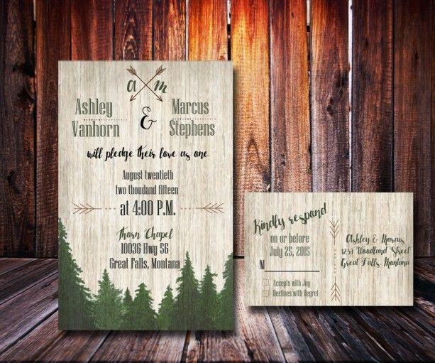 Custom Woodsy Wedding Invitation Forest Wedding Rustic Wedding